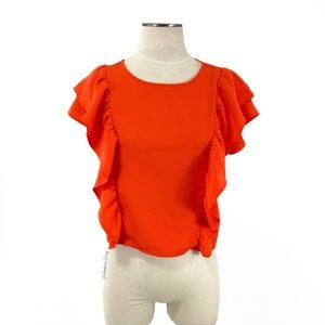 Jack by BB Dakota- Red-Orange Boxy Ruffle Top S